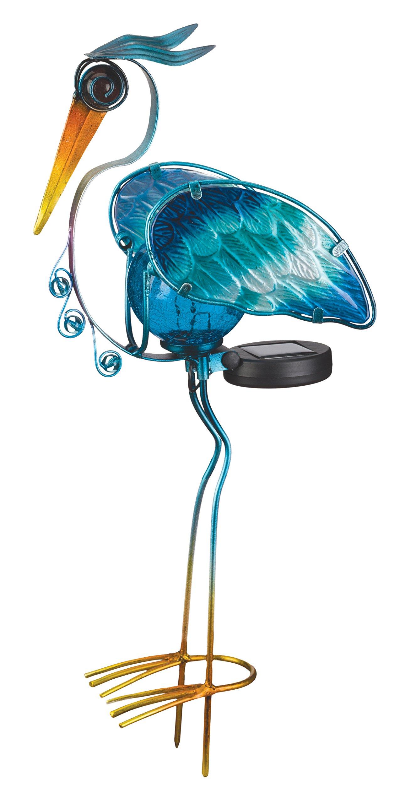 Regal Art & Gift Solar Heron Stake, 21'', Blue