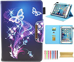 Universal Case for 7.0 Inch Tablet, Techcircle Slim PU Leather Stand Folio Wallet Case for Samsung Galaxy Tab E Lite, Acer Iconia One 7, Google/RCA and More 7-inch Android Tablet, Purple Butterfly