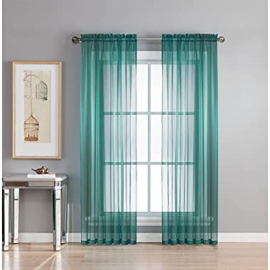 Luxury Discounts 2 Piece Solid Elegant Sheer Curtains Fully Stitched Panels Window Treatment Drape (54  X 63 , Teal)
