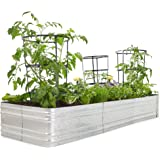 Premium Raised Garden Bed - Sturdy and Easy to Assemble Galvanized Steel Planter Box - Versatile Metal Planter is Perfect to