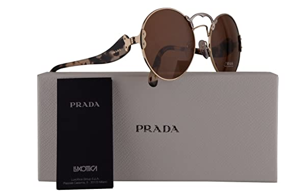 91140e7428bcb Prada PR55TS Sunglasses Pale Gold Silver w Brown 57mm Lens ZVN6N0 SPR55T PR  55TS SPR 55T  Amazon.co.uk  Clothing