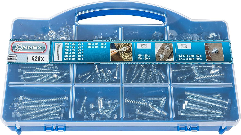 Connex dp8500091/Tornillos M5/+ M6/Surtido Buz/ón Galvanizado 420/piezas
