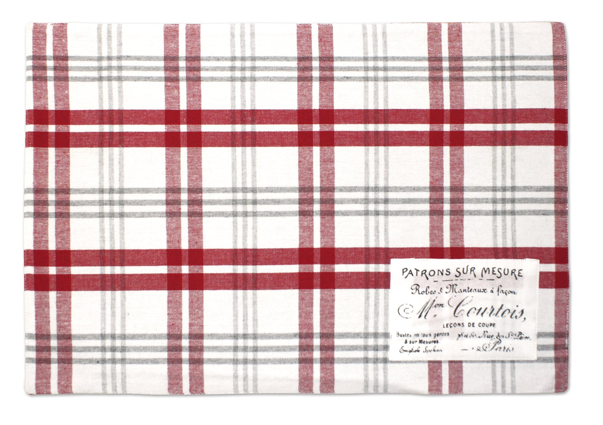 Hotel Plaid'N Patch 4pk P/M Set Placemat, 13x19, Red, 4 Piece