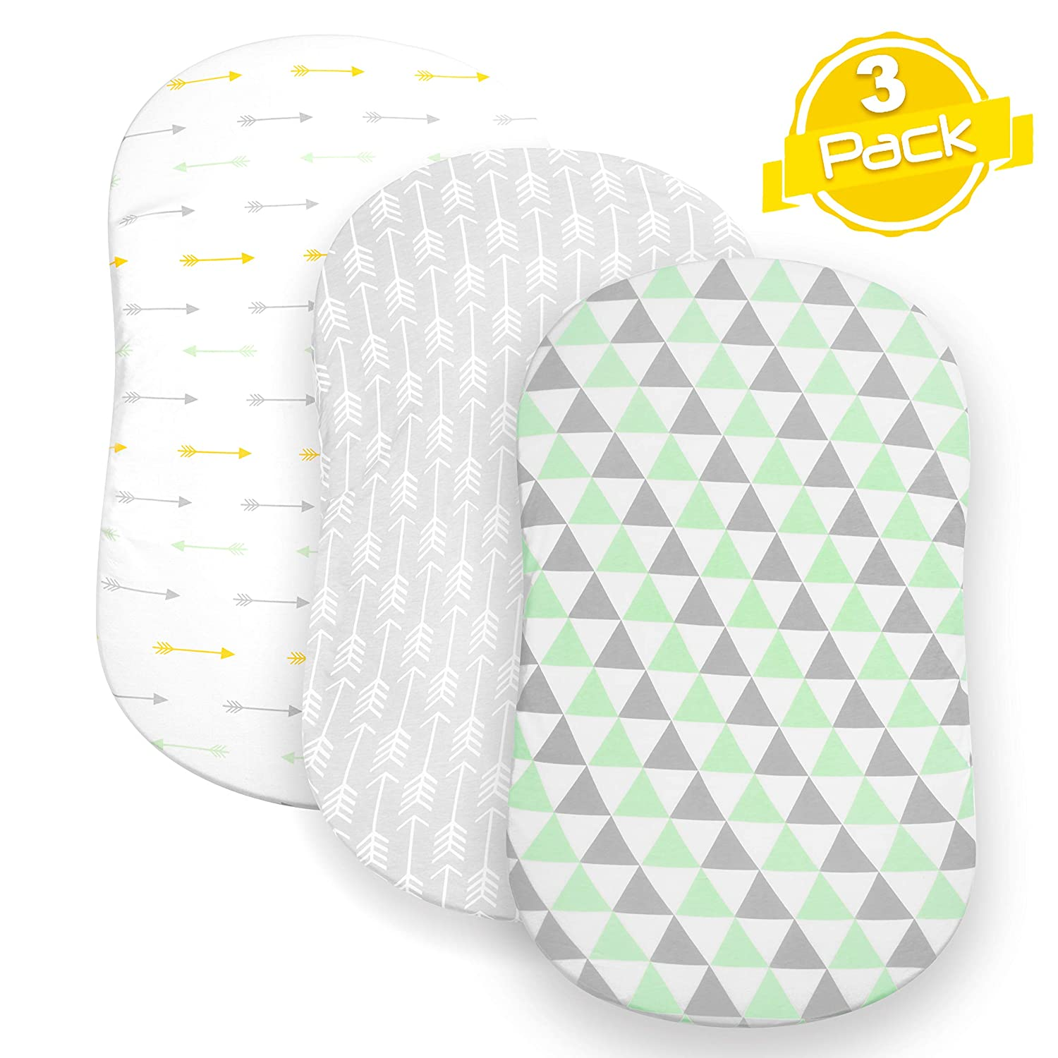 BaeBae Goods Bassinet Sheet Set | Cradle Fitted Sheets for Bassinet Mattress/Pads | Super Soft Jersey Knit Cotton | 3 Pack | 150 GSM | Arrows Collection