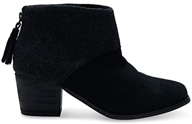 c053df419a5 Image Unavailable. Image not available for. Color  TOMS Leila Black Wool  Felt Booties 10006204 Women 11