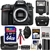 Nikon D7500 Wi-Fi 4K Digital SLR Camera Body with 64GB Card + Battery + Grip + Case + Flash + Flex Tripod + Strap + Filter Kit