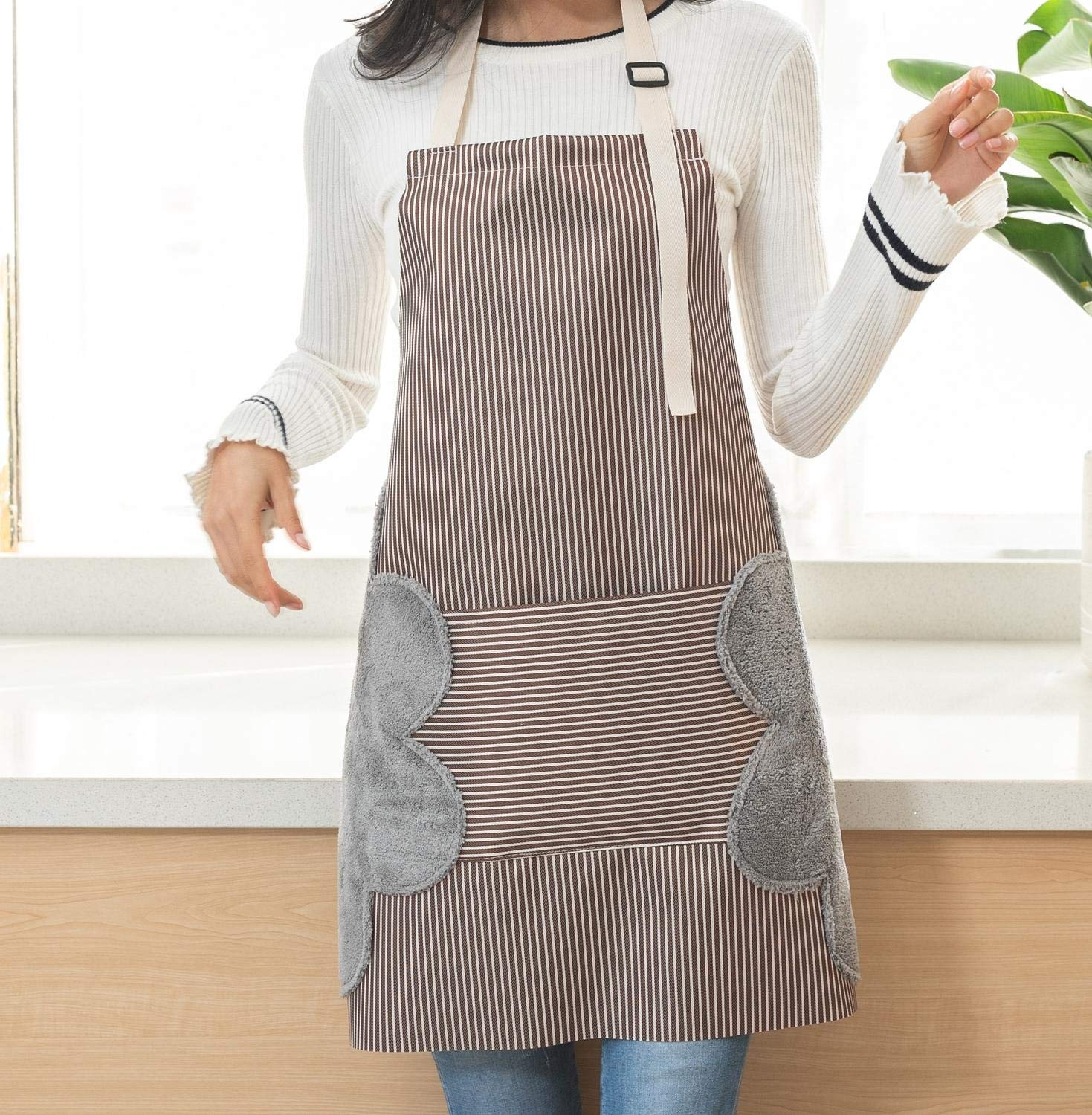 Lot-Yes Waterproof Apron with Pocket,Two Owels Stitched,Adjustable Design of The Strap for Women, Men Kitchen, Home, Cooking (Brown)