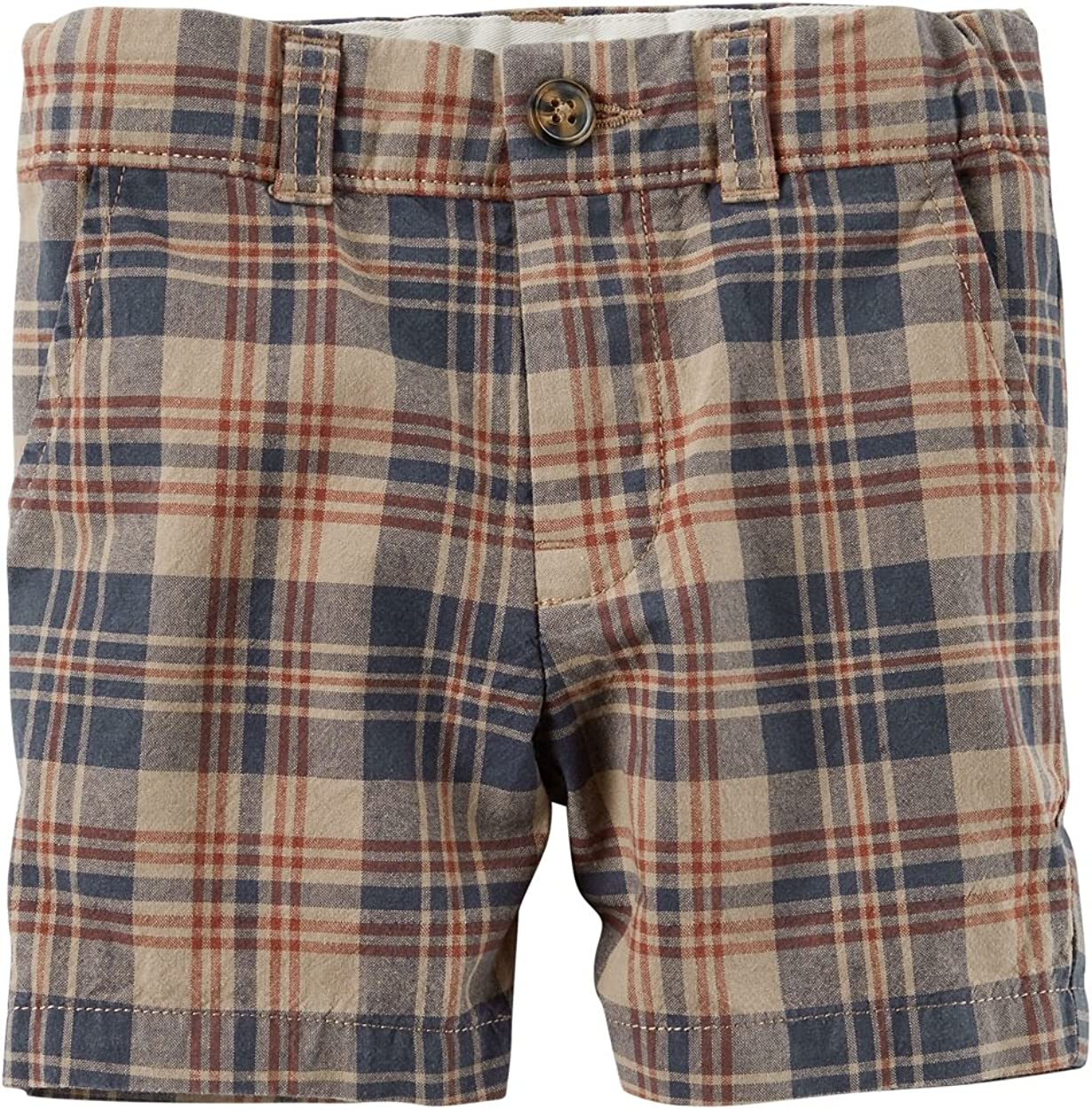 Carters Baby Boys Plaid Flat-Front Shorts 3 Months Brown