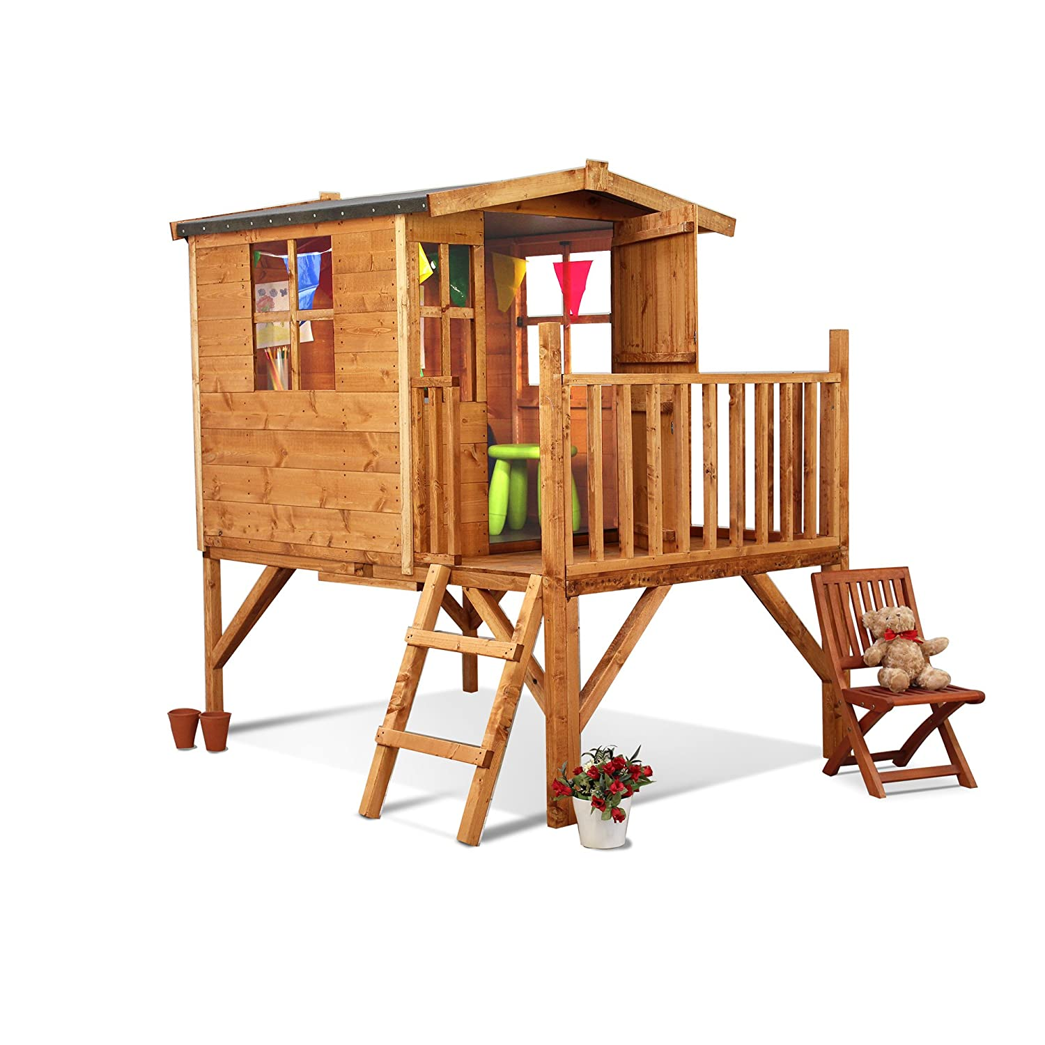 Outdoor Wooden Childrens Playhouse with Slide Wendy House Raised