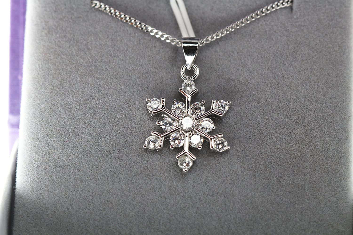 f1738 findout Ladies Sterling Silver Blue White Cubic Zirconia Snowflake Pendant Necklace .for Women Girls.