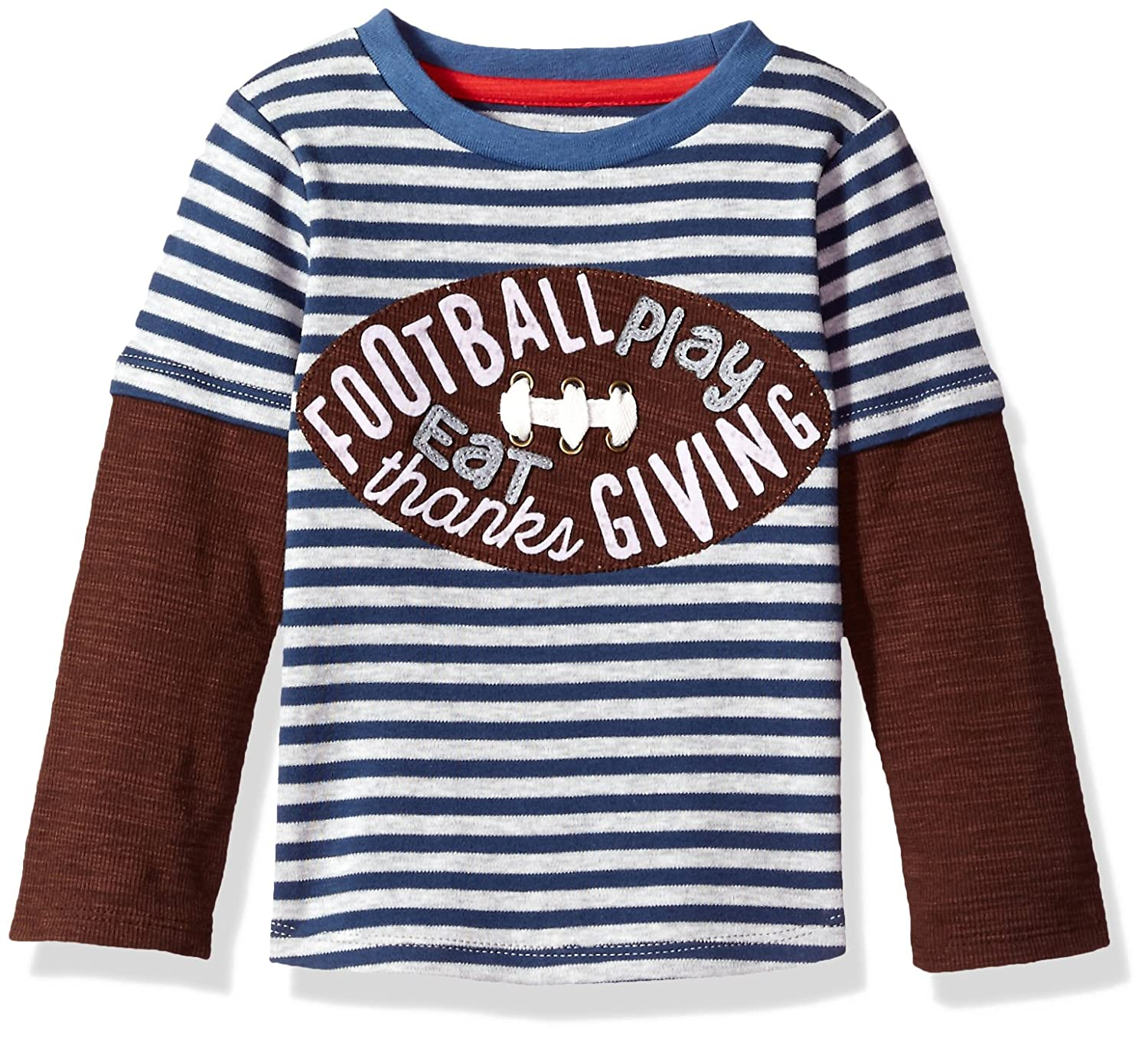 Mud Pie Baby Toddler Boys' Thanksgiving Football Game Time Long Sleeve Raglan T-Shirt 1052196