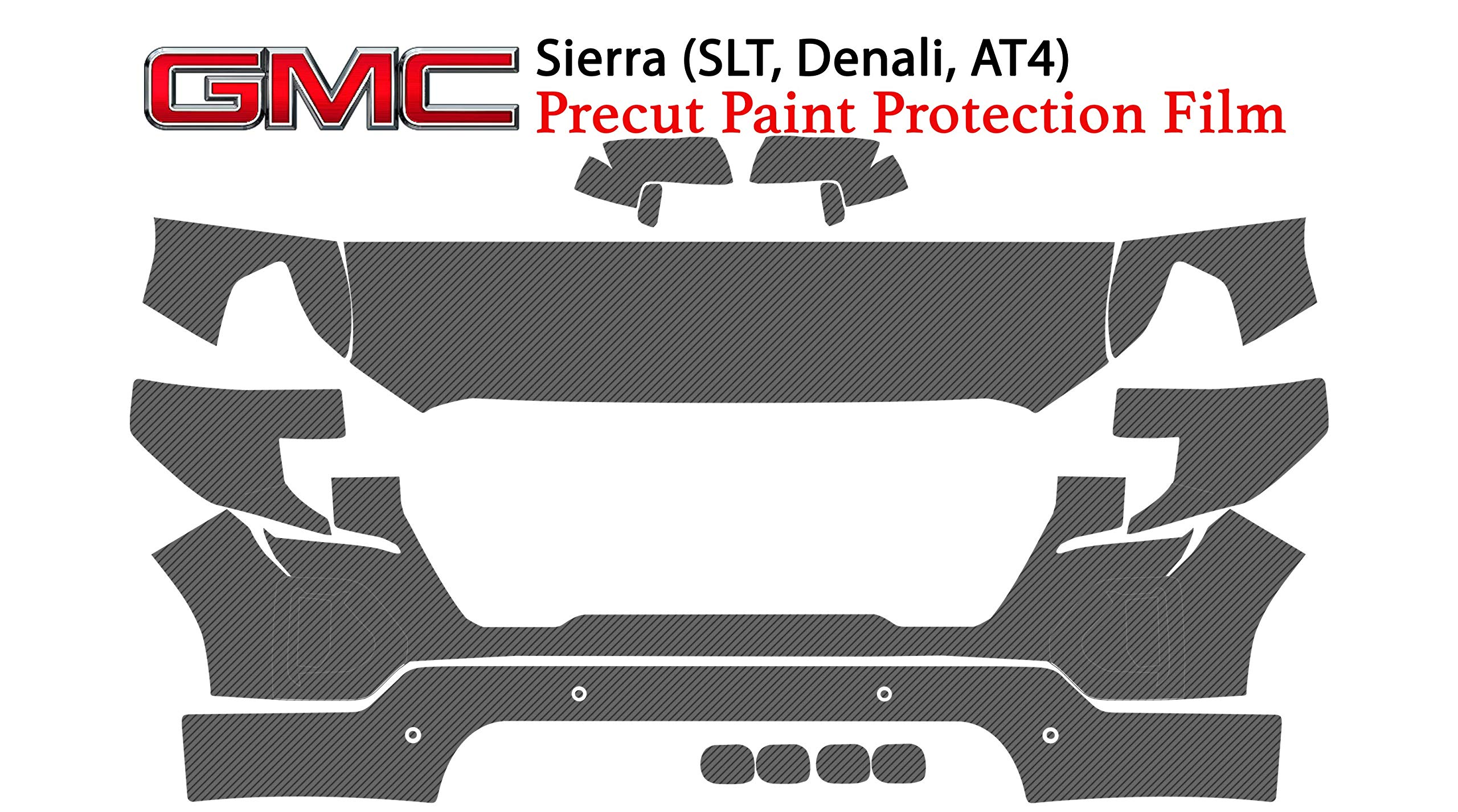 The Online Liquidator Full Front Protective Film GMC Sierra 1500 2019 - Clear Bra Professional Car Paint Shield Cover