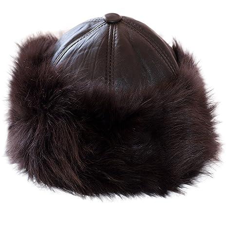 689f2a118447 Dazoriginal Ushanka Mujer Piel Gorro Ruso Invierno Boina Cuero Sombrero  Punto
