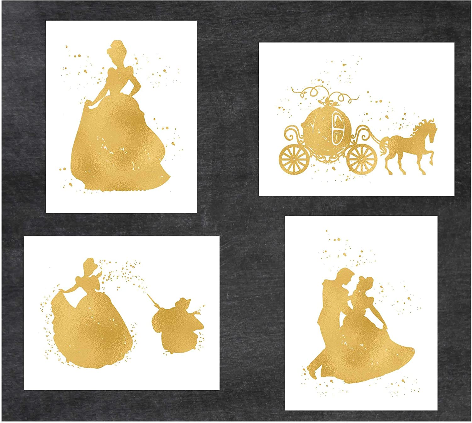Simply Remarkable Cinderella, Princess and Disney Inspired - Pack of 4 Gold Poster Prints Photo Quality - Made in USA - Frame not Included (8x10, Cinderella 4 Pack - Gold)