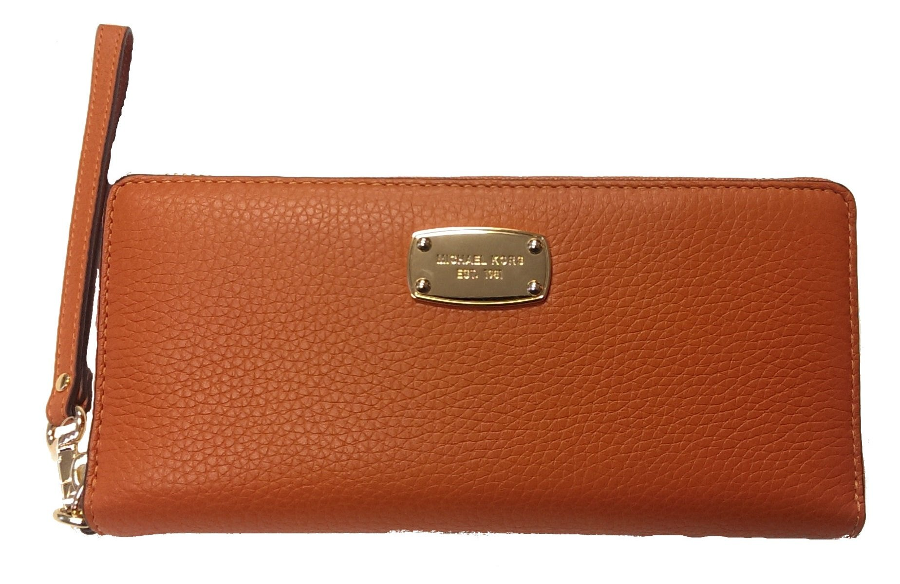 Michael Kors Jet Set Travel Continental Tangerine Wallet Zip Around Wristlet by Michael Kors
