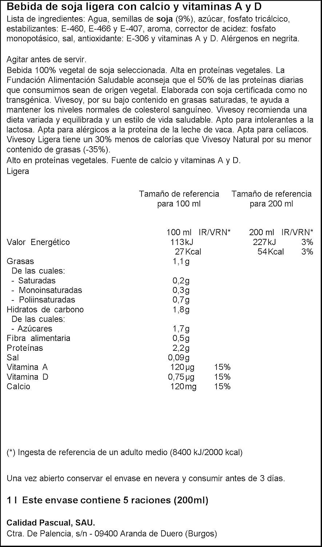 Vivesoy - Bebida de Soja Ligera - 1 L: Amazon.es: Alimentación y ...