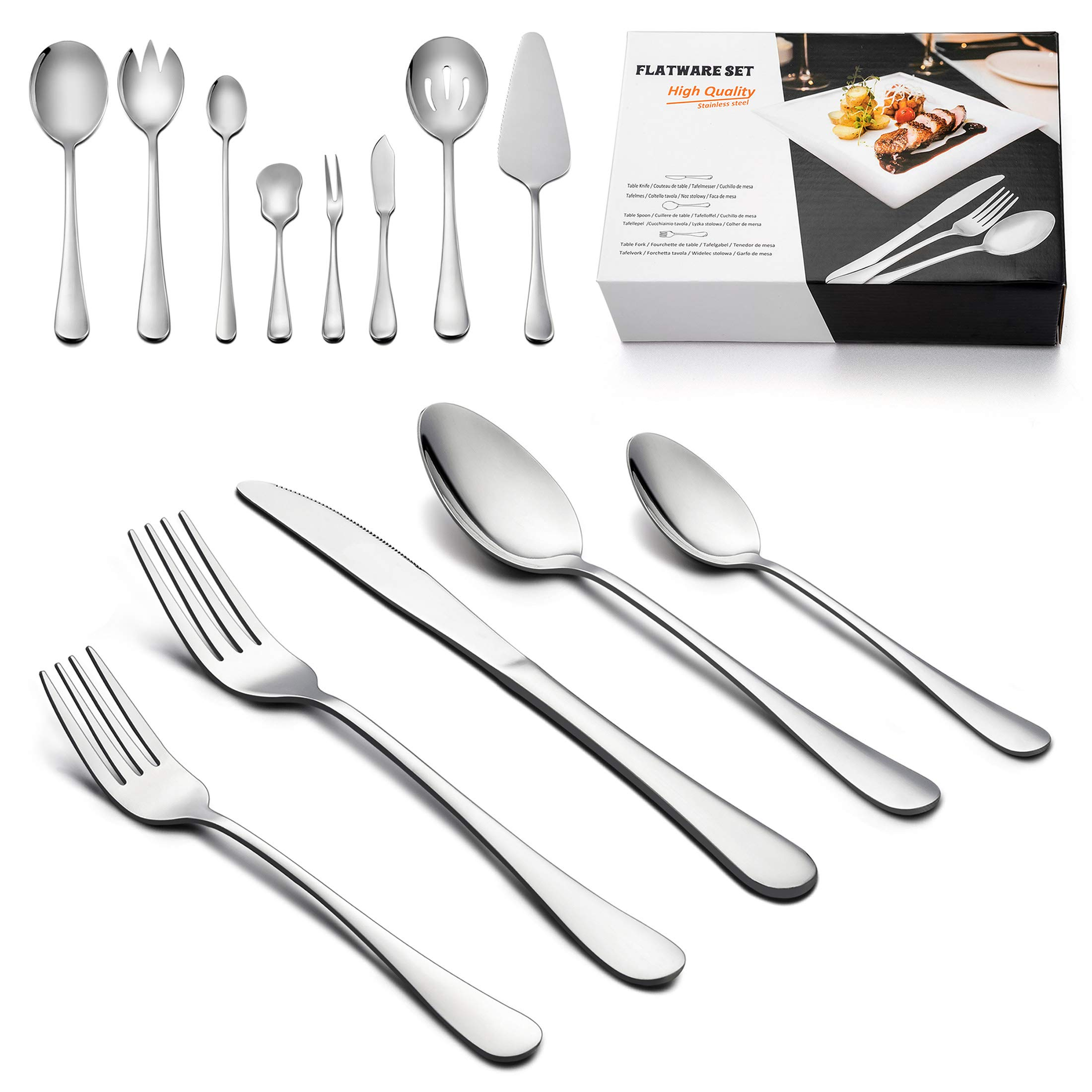Silverware Set with Serving Pieces, LIANYU 48-Piece Flatware Set Service for 8, Stainless Steel Cutlery Eating Utensils, Mirror Finish, Dishwasher Safe