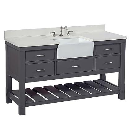Amazing Charlotte 60 Inch Single Bathroom Vanity Quartz Charcoal Interior Design Ideas Gentotryabchikinfo