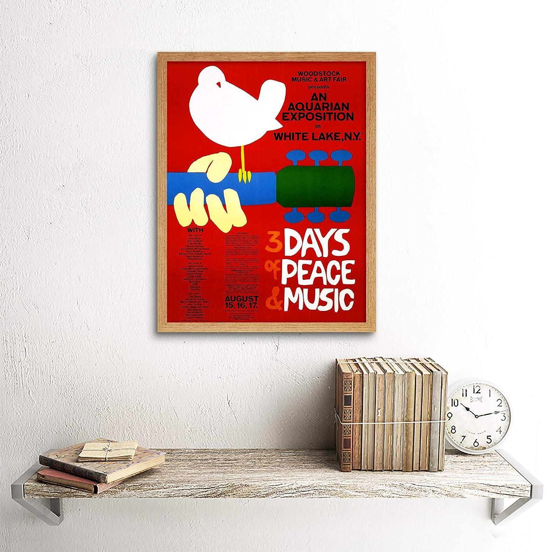 Wee Blue Coo Music Festival Concert Woodstock NY Peace Dove Love Legend Art Print Framed Poster Wall Decor 12X16 inch Musica Concerto Legna Pace Amore Leggenda Manifesto Parete