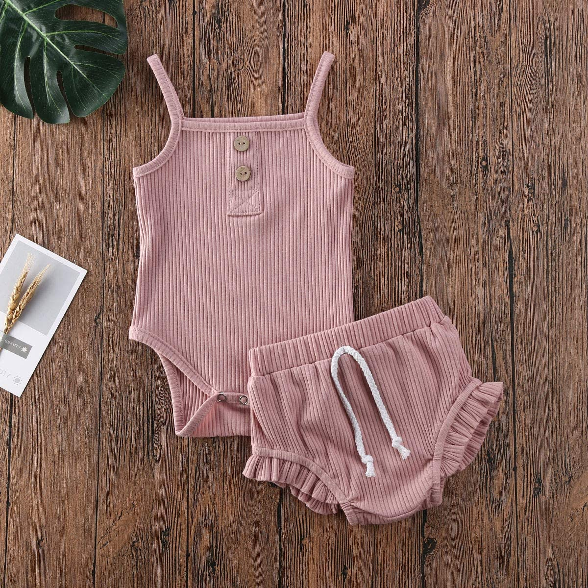 Newborn Baby Girl Knitted Outfit Button Halter Ruffle Top+Drawstring Shorts Summer Ribbed Clothes Set