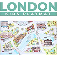 "Kids Play Mats for Toddlers. Educational, Road & Car Rug with map of London City. Large 75"" x 45"" Floor Playmat for Children. Ideal Kids Rugs for Playroom, Bedroom, Activity Room for Toys & Cars."