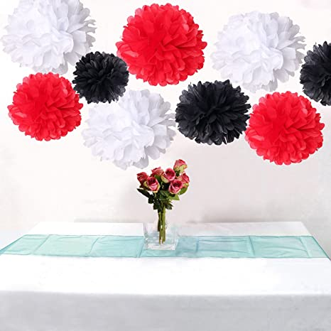 AllHeartDesires Set of 6 Mixed Red Black White Wedding Flower DIY Tissue Paper Pom Poms Anniversary Birthday Party Girl Room Hanging Decoration