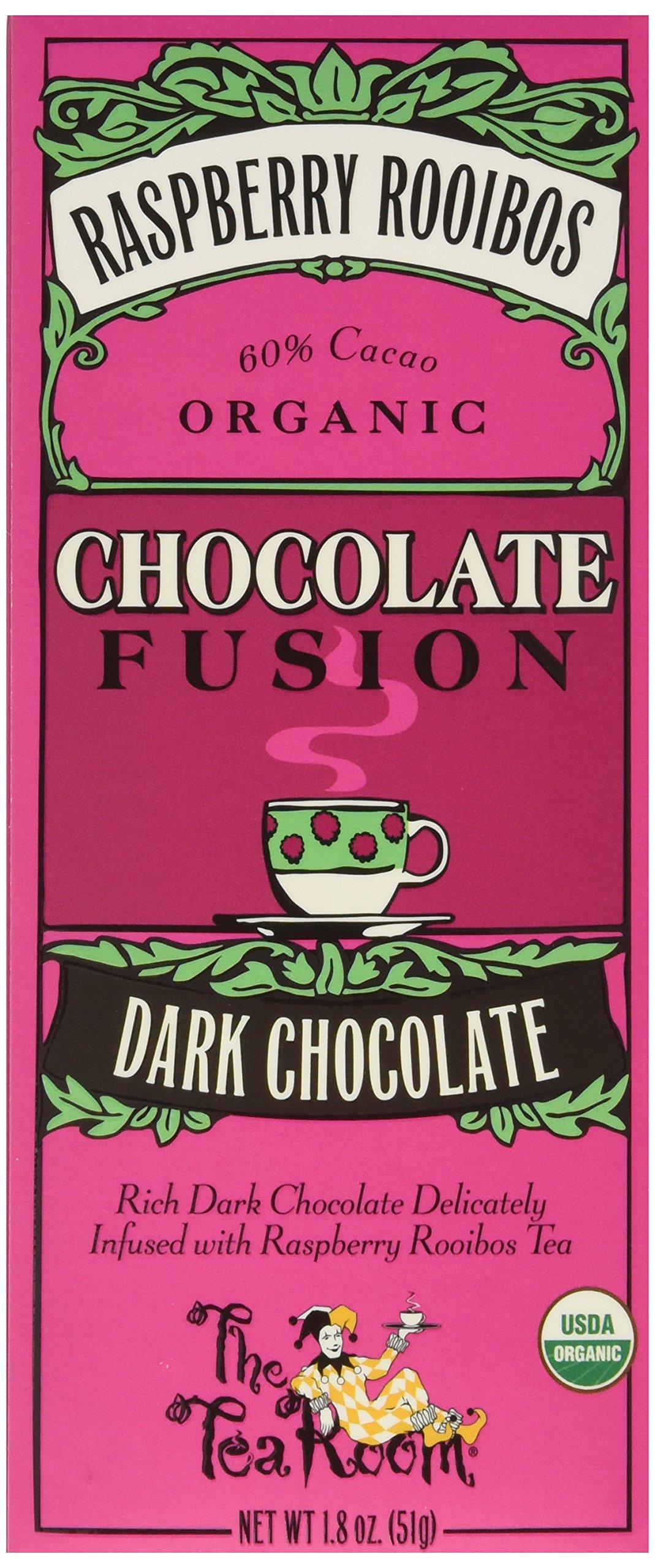 The Tea Room 60% Dark Organic Chocolate Fusion, Raspberry Rooibos, 1.8 Ounce (Pack of 12)