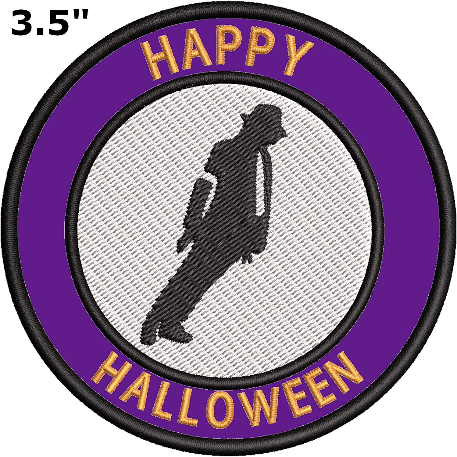 Happy Halloween Michael Jackson 3 5 Embroidered Iron Or Sew On Patch Horror Movie Tv Scary Series Souvenir Travel Vacation Witch Broomstick Clown It Zombie Cat Cap Hats Bags Badge