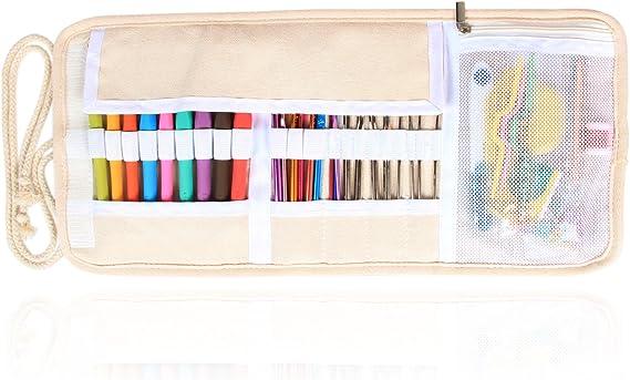Damero Bolsa para Kit de Ganchillos Estuche para Agujas Bolso para Hacer Puntos Organizador para Crochet, No incluido accesorios, Pintura: Amazon.es: Hogar