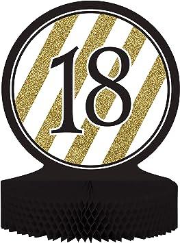 COOLMP Juego de 12 centros de Mesa de 18 años, Color Negro y Dorado, Talla única, decoración para Fiestas, animación, cumpleaños, Bodas, Eventos, Juguetes, Globos: Amazon.es: Juguetes y juegos