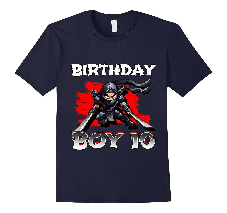 10th tenth 10 ten years birthday boy ninja t shirts gifts-Vaci
