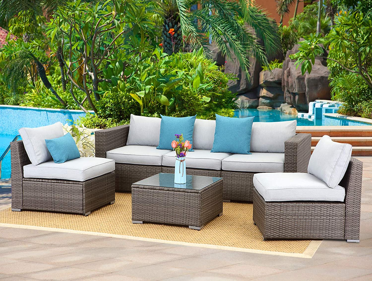 Wisteria Lane 6-Piece Outdoor Furniture Set Modular Wicker Patio Sectional Sofa Couch for Garden Backyard,Sophisticated Glass Coffee Table with Fabric Cushions,Upgrade Grey Cushion