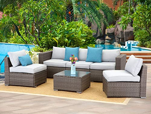 Wisteria Lane 6-Piece Outdoor Furniture Set Modular Wicker Patio Sectional Sofa Couch
