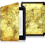 Fintie Étui Kindle Voyage - Housse étui Flip en cuir super fin et léger, fermeture magnétique avec mise en veille automatique pour Amazon Kindle Voyage (7ème génération) 6 Pouces, Map Ancient