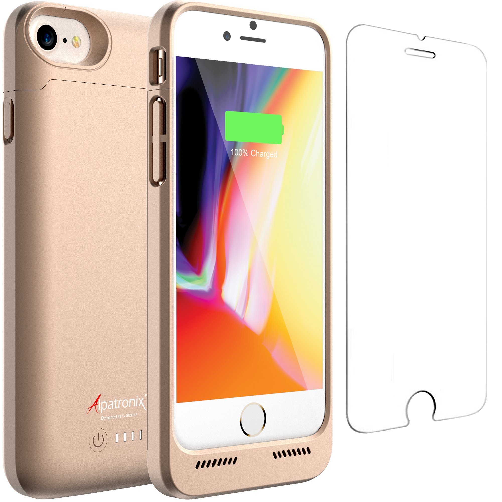 iPhone 8/7 Battery Case Qi Wireless Charging Compatible, Alpatronix BX190 4.7-inch 3200mAh Slim Rechargeable Extended Protective Portable Charger for iPhone 8 & iPhone 7 [Apple Certified Chip] - Gold