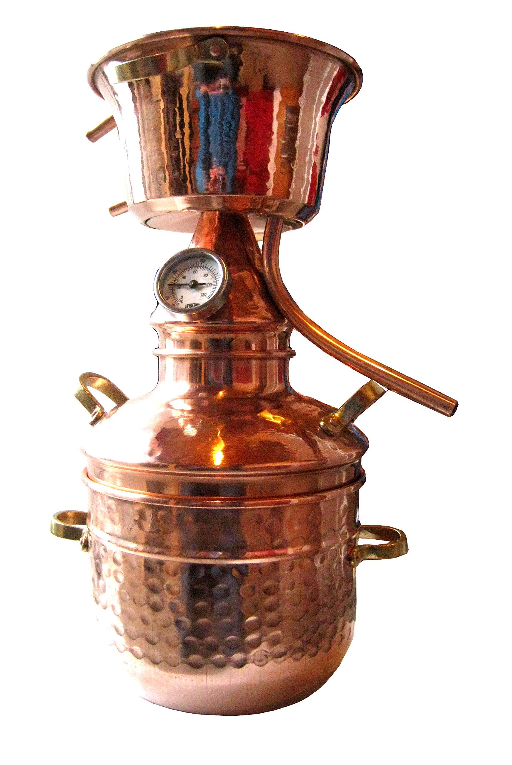 Alquitara Aus Kupfer 2 Liter Mit Thermometer   Destille ätherische Öle   2L  (anmeldefrei)