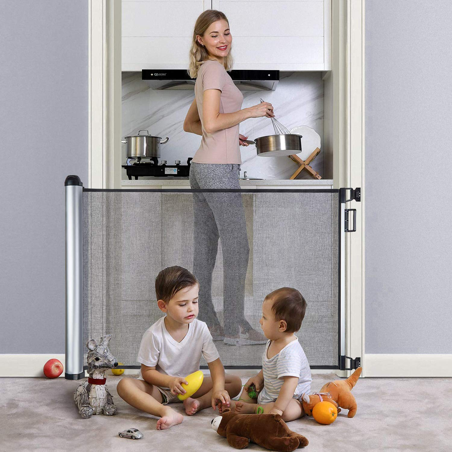 Retractable Baby Gate 48 Extra Wide Baby Gate Pet Gate Easy Latch and Flexible Mesh Child Safety Baby Gate for Stairs House Doorways and Hallways