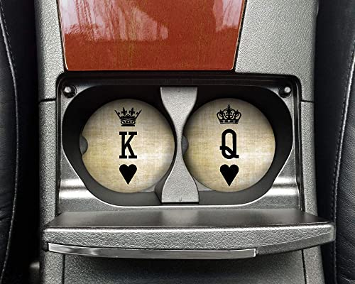 King And Queen Car Coasters For Vehicle Cup Holders Set Of 2