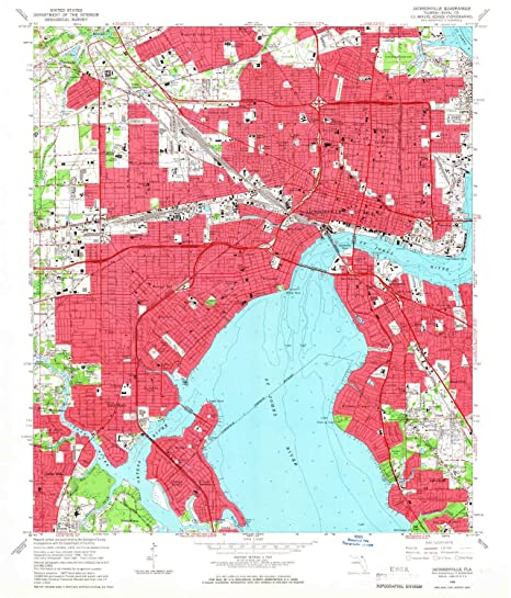 Amazon.com : YellowMaps Jacksonville FL topo map, 1:24000 Scale, 7.5 ...