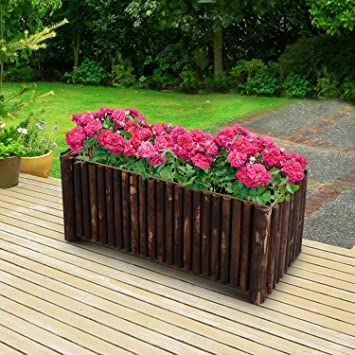 Planter Rectangular Planter On Legs With Natural Logs Of Wood Tree