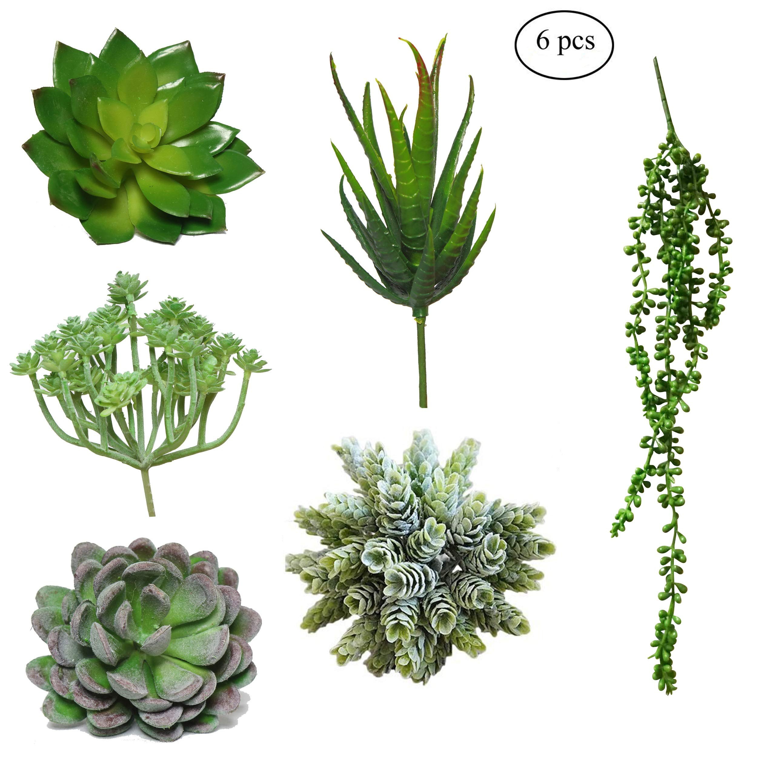Pack of 6 Fake Succulent Plants | Artificial Succulent Plants Unpotted Fake Plants Artificial Plants | Realistic Floral Home Decor Assorted Aloe Faux Mini Succulent Flowers Bulk Mixed Accent