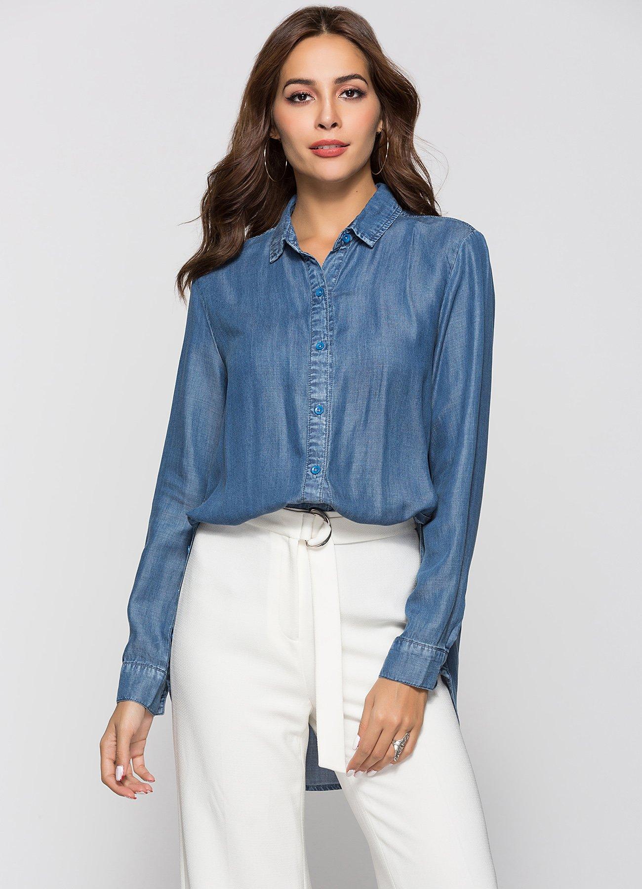 d5622d8c29dd3 Women s Denim Shirt Long Sleeve Button Down Shirts - Denim Fit