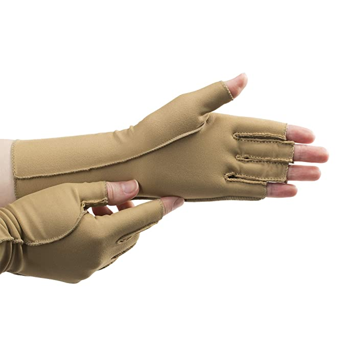 isotoner Therapeutic Compression Gloves, Open Finger, Unisex