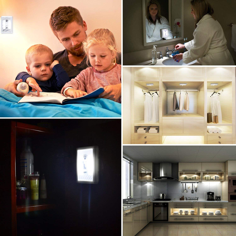 [New Version] TOMOL Super Bright COB LED Cordless Switch Light, Tap Light, Battery Operated LED Night lights, Under Cabinet, Shelf, Closet, Nightlight Kitchen RV 3-pack