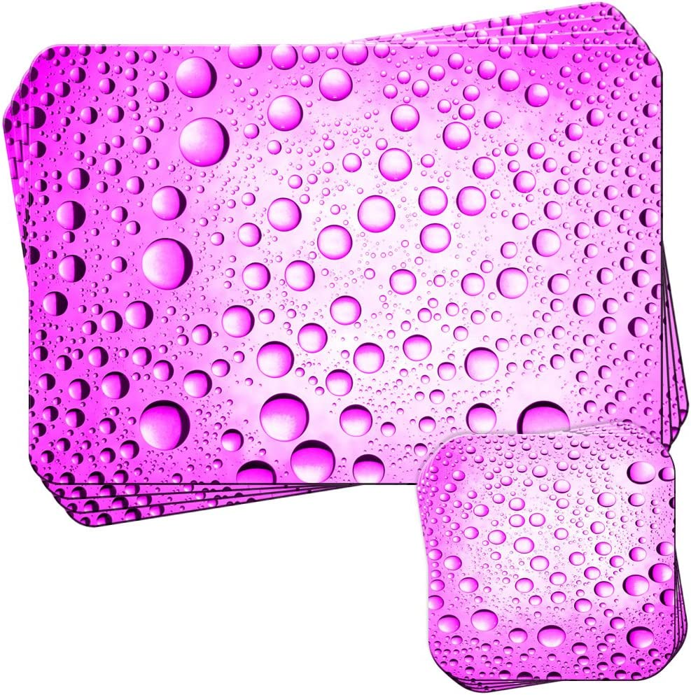 Fancy A Snuggle Pink Water Droplets Set of 4 Placemats and Coasters