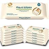 Aqua Wipes Lingettes pour bébés, Nouveau-né, (Carton de 12 paquets (768 lingettes)), (64 lingettes par paquet), AQW64F, Végétalien, Biodégradable, 99.6% d'eau purifiée, sans plastique, UK NHS APPROUVÉ | Aqua Wipes Baby Wipes