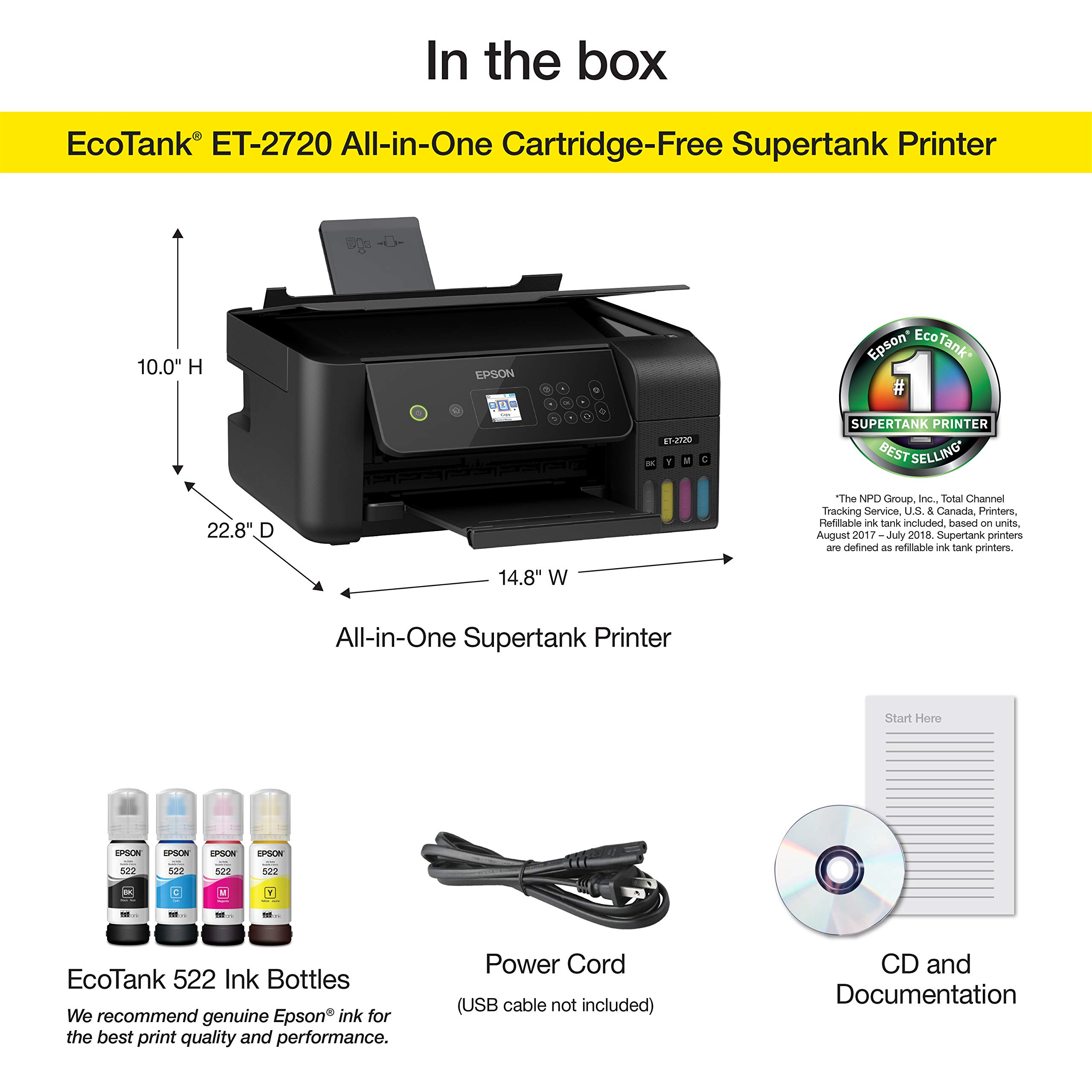 Epson EcoTank ET-2720 Wireless Color All-in-One Supertank Printer with Scanner and Copier - Black by Epson (Image #5)