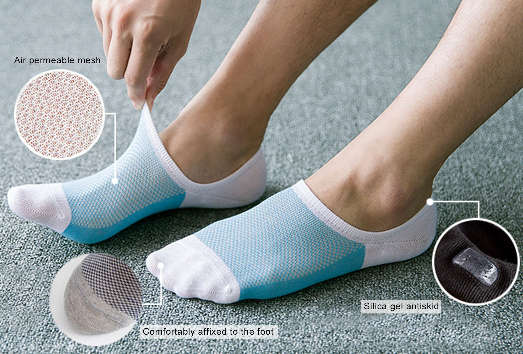 Spikerking Mens Cotton Low Cut No Show Casual Non-Slide Breathe Thin Socks 5 Pack,5 Pack-5 Color