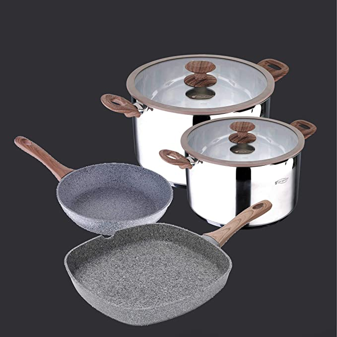 Granito by Bergner Home Premium Forged Aluminum & Granite 8 Inch Frying Pan with Full Induction