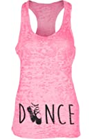 Beachcoco Dance Printed Fitted Racerback Burnout Tank Top